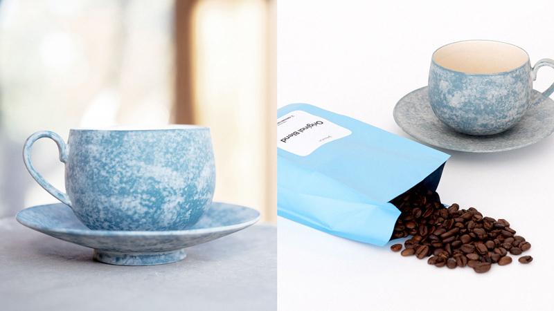 岡崎慧佑×yaunn 空と雲のカップ&ソーサー・コーヒー豆セット