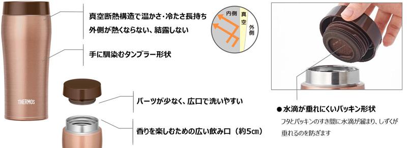 真空断熱ケータイタンブラー JOE-360 / JOE-480の特長