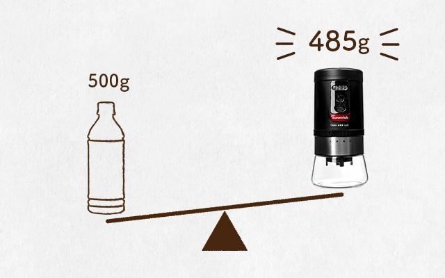 oceanrich 自動コーヒーグラインダーG1の重さは485g