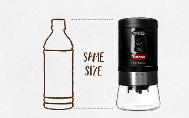 oceanrich 自動コーヒーグラインダーG1のサイズはペットボトルと同じ