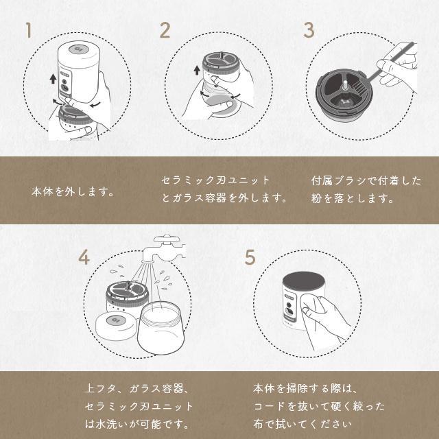 oceanrich 自動コーヒーグラインダーG1のお手入れ方法