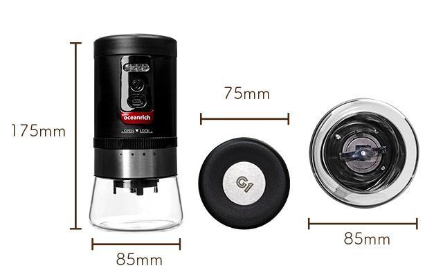 oceanrich 自動コーヒーグラインダーG1のサイズ