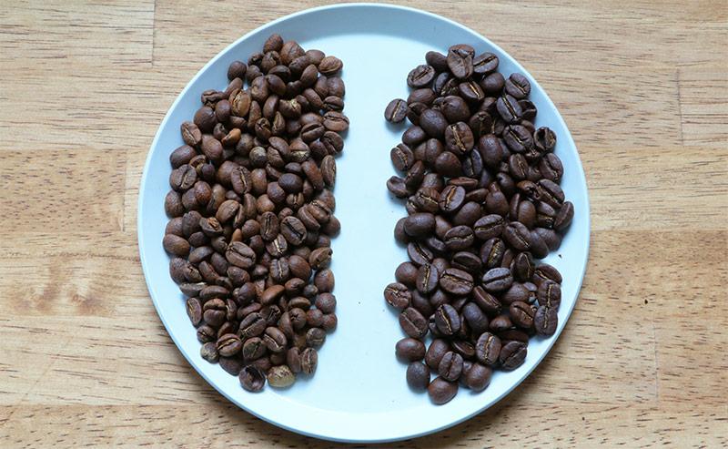 豆 煎り具合の比較