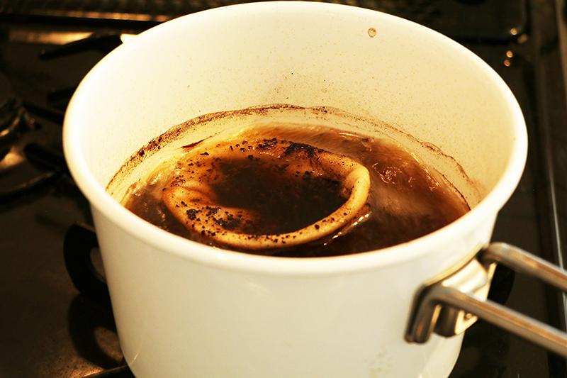 スピールのネルを煮沸 15分